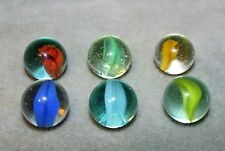 "M2920 VINTAGE PELTIER BANANA CAT'S EYE VARIOUS 6 LOT   5/8""  +/- EXCEL/NEAR MINT"