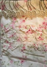 Rachel Ashwell Simply Shabby Chic Floral Ruffled Shower Curtain W/ Rose Hangers