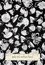 Loralie Harris Tea Pot Cup Fabric Ladies Tea Party Kitchen Saucer 930-B Black