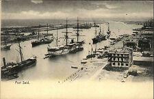 Port Said Ägypten Egypt ~1900 Hafen Mittelmeer Schiffe Segelschiffe ungelaufen