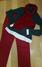 Women's  Clothing  Lot of 3 Size L grey sweater, size 12 jeans with red  scarf