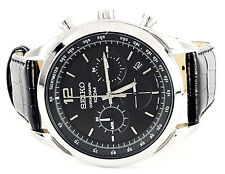 SSB097P1 Seiko Chronograph Men's Watch, Black Dial and Black Leather Strap - NEW