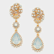 "GLAM Gold BIG 2.75"" Vintage White Opal Crystal Cocktail Earrings Rocks Boutique"