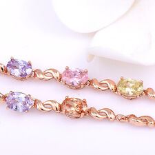 Rose Gold Filled Multi-Color Crystal Korean Statement Bracelet Girls