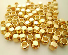 25pcs Eco-friendly Faceted Round Brass Beads Spacers Large Hole Lead Nickel Free