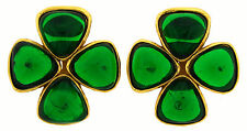 CHANEL Gripoix Glass Vermeil Clover EARRINGS Collectable 1980s Clip-on Signed