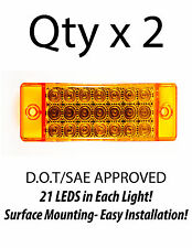 2 - Amber 21 LED Side Marker Clearance Light  Rectangle 12V Truck Trailer Camper