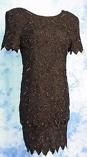 STUNNiNG 80s GLaM VtG BLACK BEADED SEQUiN TiERED STENAY COCKTAiL DRESS GOWN L/XL