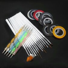 NAIL Art Design Set Fanali Pittura Disegno polacca Brush BIANCO Striping Tape