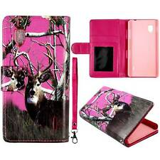 Flip Wallet Camo Pink Deer Rt For LG Optimus G LS970  Pu Leather Cover Case