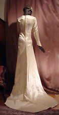 Edwardian Wedding Dress Hammered Satin with Wax Flower Headpiece Sz 8