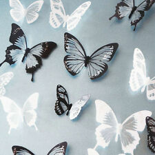 18pcs Vinyl Art Wall Stickers 3D Crystal Butterfly DIY Decor Home Decals 2 Color