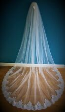 Bridal Veil *1 Tier*3M Wide*Cathedral Length* Off white/Ivory*Wide corded Lace *
