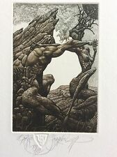 "JULIAN JORDANOV ,Etching , Ex Libris, ""Earth"" 2014 ,Limited Ed. 20/30"