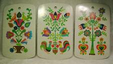 Lot Set of 3 Wall Plaques Folk Design Vintage Germany Roosters Birds Flowers