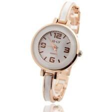 Women Luxury Rose Gold Plated Ceramic Dial Bracelet Quartz Analog Wrist Watch