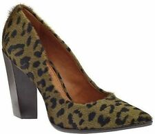 Carrano Madelyn Hunter Green Leopard Calf Hair Leather Pumps 7M 7 NEW