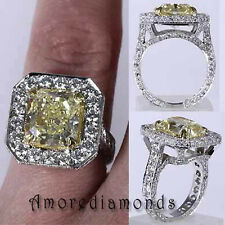 5.02 ct GIA fancy intense yellow SI2 radiant antique vintage engagement ring 18k