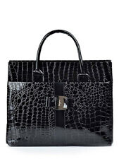 SAC à MAIN Noir imitation cuir Aspect croco - Black Hanbag Croco style