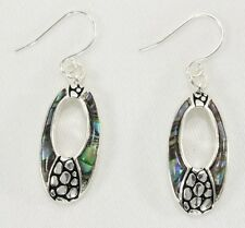 Hypoallergenic dangle drop earrings abalone ocean blue green inlay oval bali