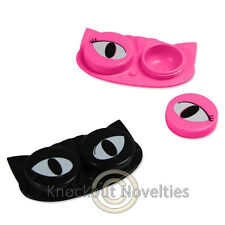 Cat Eyes Contact Lens Storage Case Black Pink Lenses Holder Safe Contacts Caps