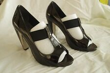 Faith/Next/Clarks Black Patent T bar Heels size 8 42 Party Heels