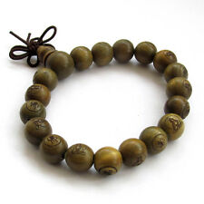 10mm--Green Sandalwood Buddha Word Tibet Buddhist Prayer Beads Mala Bracelet