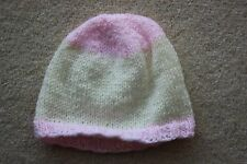 Baby hat beanie style new born to 3 months pink yellow stripes