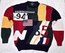 Vintage Nautica hand knit Blue Water Challenge American Flag Crewneck Sweater L