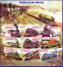 Dominica 1995 MNH Trains of World 9v MS Railways Züge Treni Chemin de Fer Stamps