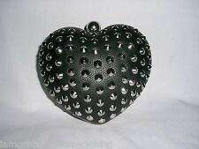 TOPSHOP  FAUX LEATHER  BLACK  STUD  HEART BOX CLUTCH BAG