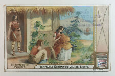 Victorian Trade Card - Liebig's Extract of Meat, Prehistoric Man, French Text
