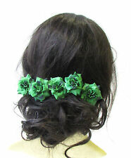 5 x Green Rose Flower Hair Pins Vintage Rockabilly Clip 1950s Bridesmaid 1524