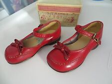 40's 50's Vintage New In Box Healthy Tot Red Mary Jane Buckle Bow Girls Shoes 4