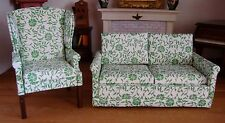 Dollhouse Miniature Artisan Upholstered Floral Wing Chair & Sofa Set Furniture