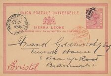 SIERRA LEONE:1881 ONE PENNY Postal Card H &G 1 used 1893 to UK-LIVERPOOL PACKET
