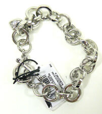 JUICY COUTURE Open Link Chain Silver Starter Bracelet w Heart Charm NWT