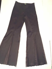 Only Thierry Mugler Italy Black Stretch Sheer-Silk-Flare-Inset Pants-8-run small