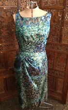 """Starry Night"" Vintage 60's Dress- Blue & Green With Gold Metallic Swirl Design"