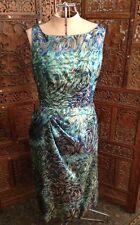 """Starry Night"" Vintage 60's Dress- Blue & Green With Gold Metallic Swirl Design"