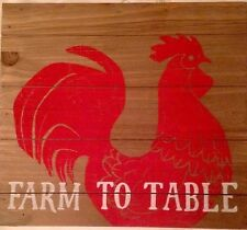 """Sonoma Life + Style Homestead Red Rooster """"FARM TO TABLE"""" Kitchen Wall Decor"""