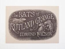 EDWARD GOREY SIGNED The Rats of Rutland Grange Edmund Wilson 1st/1st Ed. Gotham