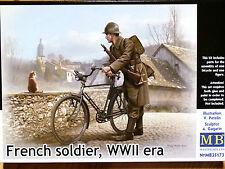 Masterbox 1:35 soldado francés con bicicletas de época WWII Figura Modelo Kit