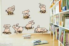 Wall sticker 7X FUNNY PINK PIGS HOG MUD ROOM KID NURSERY DAYCARE DECOR