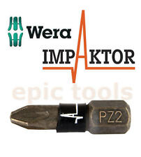 1 x WERA IMPAKTOR Pozi PZ2 25mm Length Diamond Coated Impact Driver Bits,347524
