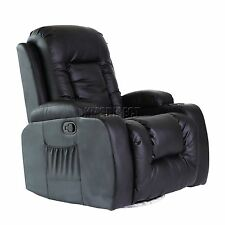 FoxHunter Leather Massage Cinema Recliner Sofa Chair Swivel Rocking MLS-02 Black