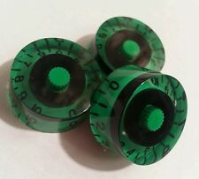 3 Guitar speed volume / tone knobs. Custom green/black. JAT CUSTOM GUITAR PARTS