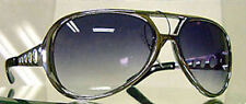 ELVIS SUNGLASSES  AVIATOR LARGE SILVER FRAMES SMOKE LENSES METAL ARMS