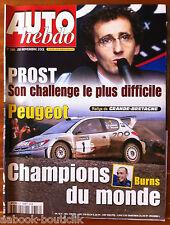 AUTO HEBDO 1318 du 28/11/2001; Rallye de Grande Bretagne/ Burns champion du Mond