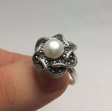 Turkish Ottoman Jewelry Rose Mother of Pearl 925K Sterling Silver Women's Ring
